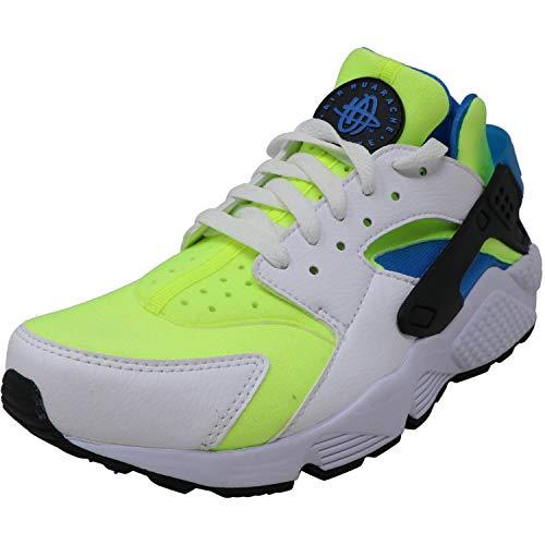 Nike Men's Air Huarache Run Se White/Volt Black Photo Blue Low Top Leather Running - 10M