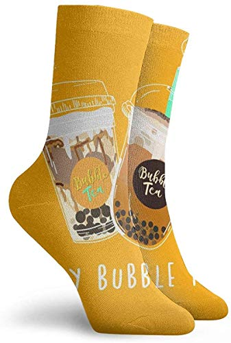 63251vdgxdg sokken voor dames, maat 10-12, collectie van Bubble Tea, Pearl Milk Tea, koffie en zachte dranken met doodle Style Banner