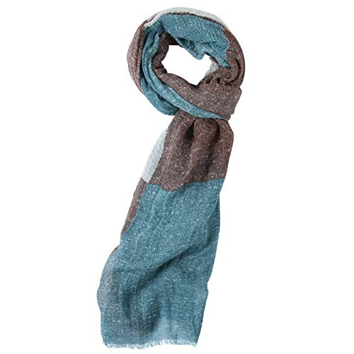 WAMSOFT Lightweight Thin Scarf Shawls, Womens Large Retro Formal Scarf Head Scarves Check Hiking Vacation Church Pashmina Scarf Birthday Gift Blue/Brown