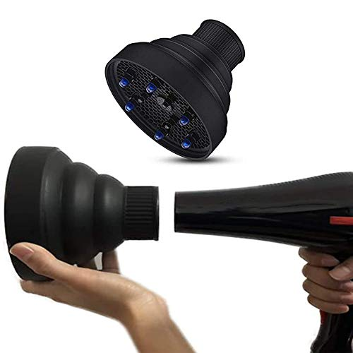 """Travel Hair Dryer Diffuser Collapsible For Profession Blow Natural Wavy Fine Thick Hair; Fits blow dryers with up to 2""""Nozzle 2019-Black"""