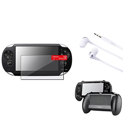 Insten Black Hand Grip + Clear LCD Protector + White / Silver Headset Compatible With Sony PS Vita PSV