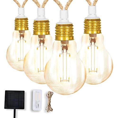 L.A.NOVA - Cadena de luces LED solares A60 5 m / 16,4ft con 10 bombillas, mando a distancia por infrarrojos, cable alargador, IP44 exterior e interior para fiestas, patio trasero, jardín, césped