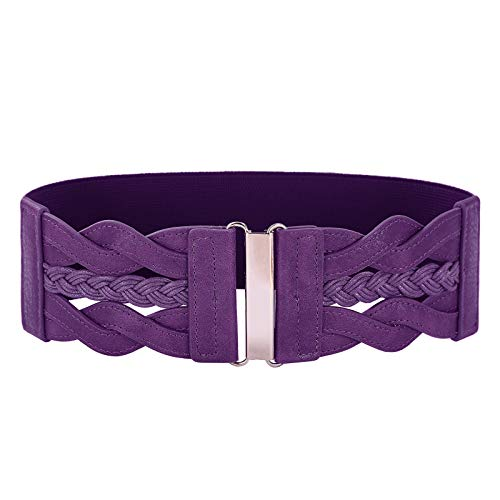 Women's Elastic Vintage Belt Stretchy Retro Wide Waist Cinch Belt(Purple,XL)