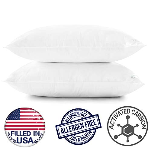 downluxe Bed Pillows for Sleeping - (Standard,2 Pack) Luxury Firm Density Down Alternative Pillows with 100% Cotton Cover,Size 20x26