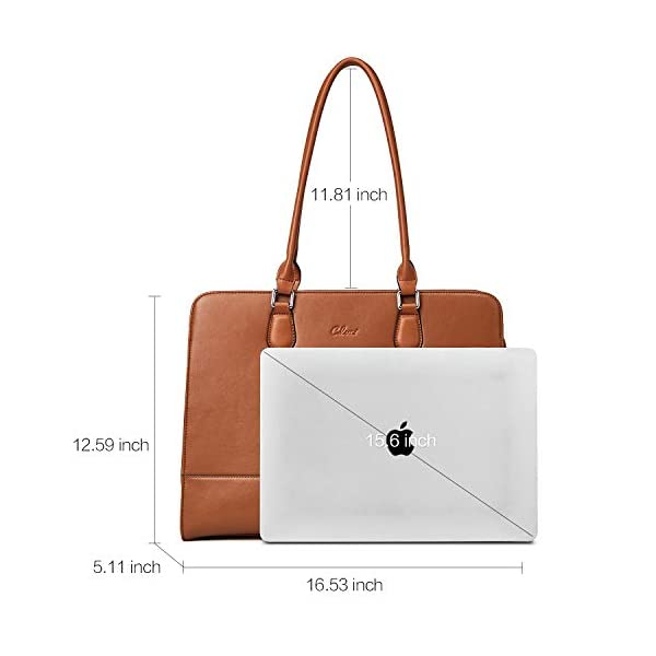 CLUCI Genuine Leather Briefcase for Women 15.6 Inch Laptop Vintage Large Ladies Business Work Shoulder Bags 3