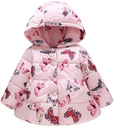 Kids Girls Winter Clothes Warm Hooded Down Windproof Jacket Butterfly Thick Outerwear