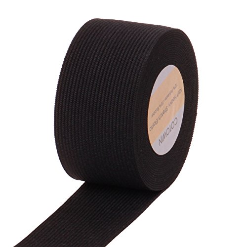 COTOWIN 1.5 Inch Black Heavy Stretch Knit Elastic,5 Yards