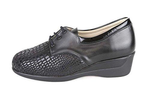 Zapato Cómodo Mujer con Pala Elástica Color Negro Anchos Especiales
