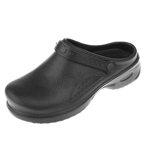 MagiDeal Zapatos de Cocinero Formales de Médico Enfermero Unisexo Zuecos Ligero con Correa - Negro, 38
