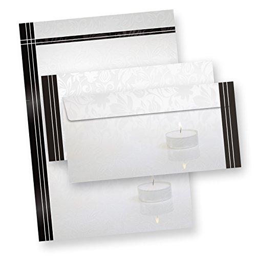 25 Sets Briefpapier Trauer Mit Umschläge ohne Fenster, DIN A4 90g Beidseitig, Oder andere Menge wählen: