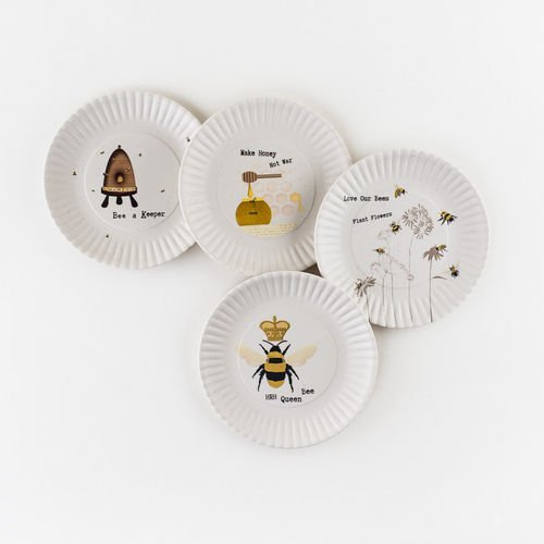 "180 Degrees Busy Bees Melamine 7.5"" Plates - Set of Four,multi"