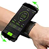 180° Rotatable Running Sports Wristband Cell Phone Holder Forearm Armband for Galaxy Note 9 S9 Plus S9 S8 Active LG V40 ThinQ G7 V35 ThinQ V30S Google Pixel 4-6.5 Inch Phones (Black)
