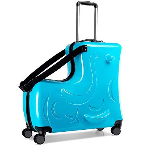 キッズキャリーケース C-J-W キャリーバッグ 子供用 スーツケース 子供が乗れる 木馬形 軽量 静音キャスター かわいい 小型 Mサイズ 丈夫 旅行 帰省 遠足 お出掛け便利 おもちゃ箱 保証付き ブルー