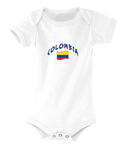 Supportershop - Body Colombia Blanco para bebé, Talla del Fabricante: 18 a 23 Meses, Talla del Fabricante: