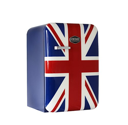 Vintage Industries ~ Kompakt Retro-Kühlschrank Kingston 2018 Union Jack | Mini-Bar 50er Jahre Look | Größe: 84cm & 115l Volumen | Tisch-Kühlschrank mit Temperatureinstellung, Wein- & Gemüsefach