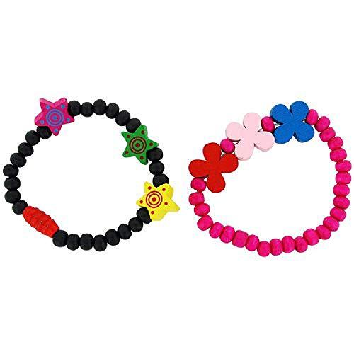 The Olivia Collection bambini confezione da 2nero & rosa caldo legno perline bracciali
