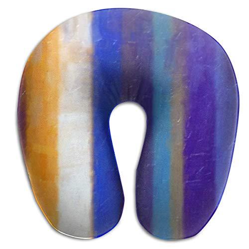 Almohada de Viaje Cojín Espuma viscoelástica Soporte para el Cuello Madera Multicolor Cómodo para avión Coche Inicio Vuelo Cabeza Mentón Lavable