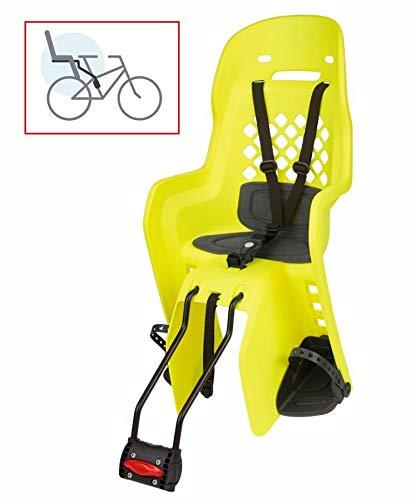 P4B | Kindersitz für Fahrrad in Yellow Fluo/Grey | Befestigung hinten am Rahmen | Einstellbarer 3-Punkt Sicherheitsgurt | Für Fahrräder mit 26-29 Zoll und 28-40 mm Rohrdurchmesser
