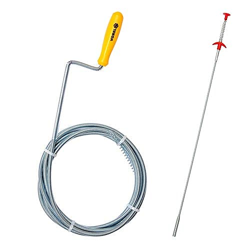 VOREL Desatascador tuberias profesional 1.5M x 0,5 cm  resorte limpiador de drenaje con garra + Herramienta de Recogida Flexible 4 garras, 600 mm