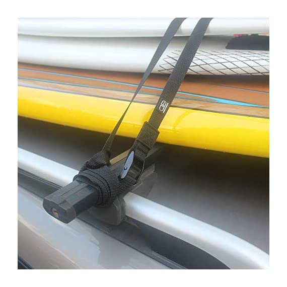 OCEANBROAD Roof Rack CargoTie Down Strap 2 Pieces Pack for Surfboard SUP Board Kayak Canoe 1 inch 14 feet, 1.5 inches 14… 2 SPECIFICATIONS: Set of 2 straps, strap width 1 inch, strap length 14 feet, cam buckle width 1.5 inches. SUPERIOR STRENGTH: Durable UV resistant polypropylene with reinforced stitching, heavy duty anodized zinc alloy cam buckle. VERSATILE: Suitable to secure surfboards, SUP boards, canoes and kayak etc. to your car roof rack.