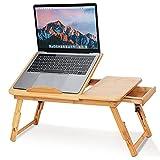 Mesa de bambú ajustable para portátil, bandeja de cama multifuncional, bandeja para servir cama, mesa de desayuno, mesa de té, estante de lectura con cajón
