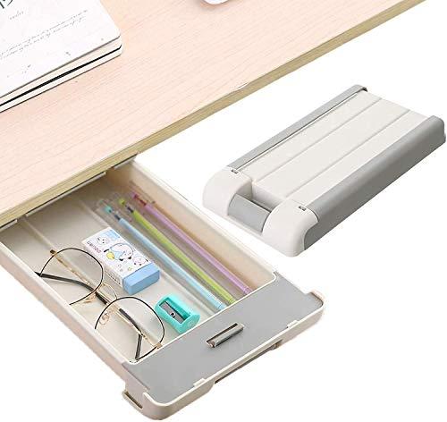 Under Desk Drawer - (1 Pack) Under Desk Drawer Slide Out,Attachable Desk Drawer,Desk Pencil Drawer,Drawers for Under Desk,Self-Stick Expandable Drawer Tray,Space Saving for Office School Home Desk