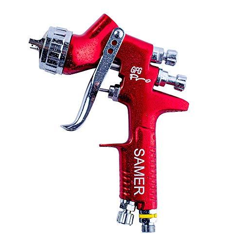 Samer, GFG Pro, pistola a spruzzo HVLP professionale, risparmio di materiale, per verniciare auto, ugello da 1,3 mm, coppetta in plastica da 600 ml