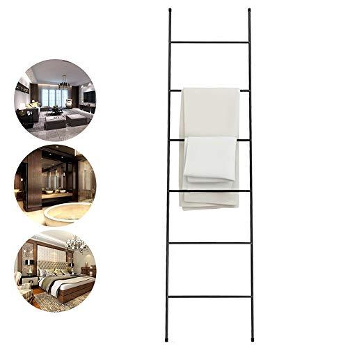 M-TOP Deken Ladder Rack, Ladder Handdoek Rekstandaard, Gratis Staande 6 Bar Decoratieve Ladder, Badhanddoek Ladder Opslag Organisatie, Wandleunende Ladder Plank, Roestvrij Staal