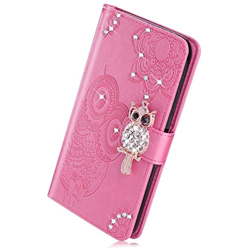 Herbests Kompatibel mit Huawei P30 Handyhülle Klapphülle Strass Diamant Bling Glitzer Eule Mandala Blumen Muster Schutzhülle Flip Cover Tasche Handytasche Leder Hülle,Rosa