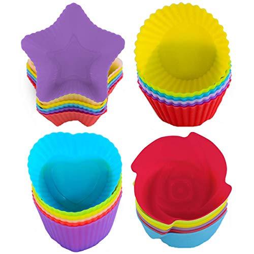 WENTS 24 Packs SiliconeCupcake Moule Silicone Moule Colore de Cupcake et de Muffin pour Cupcake DIY Couleur par aleatoire Accueil Cuisine Gâteau en Silicone Muffin Chocolat Cupcake