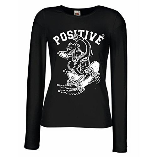 lepni.me Camisetas de Manga Larga para Mujer Positivo - Ropa de Skateboard, para Patinadores, patineta Divertida, Regalo Callejero Divertido (XX-Large Negro Multicolor)