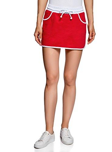 oodji Ultra Mujer Falda de Punto con Cintura Elástica, Rojo, ES 34 / XXS
