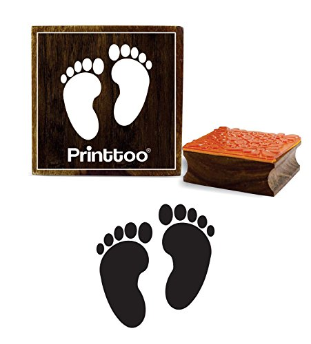 Printtoo Square Stamp Feet Print Pattern Wooden Rubber Baby Shower Stamps Scrap-Booking-2 x 2 Inches