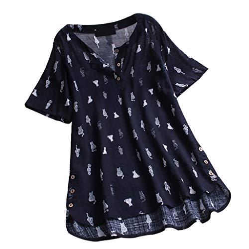 MRULIC T-Shirt Damen Tops Bluse Gedruckt Kurzarm Casual Tunika Oberteile Dreifacher Farbblock Streifen Frühling Sommer Shirt Frauen Locker Beiläufig Tanktops(A2-Marineblau,EU-48/CN-4XL)