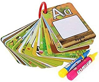 Mojo Reusable Water Reveal Word Card, Water Drawing Doodle Card Book,Paint with Water, No Chemicals, No Mess, Doodle Pad, Word Flash Card, Educational Toy for Kids, 2 Magic Pen Included, 26 Pieces.
