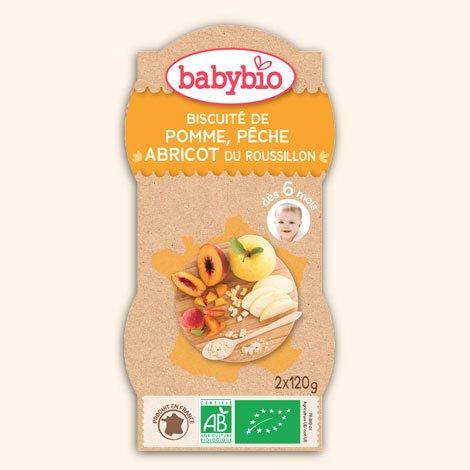 Babybio Bols biscuité de pomme, pêche et abricot du Roussillon 2x120g