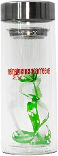 Teebecher to Go. Aus hochwertigem doppelwandigem Borosilikatglas. Mit Sieb und Deckel 250ml