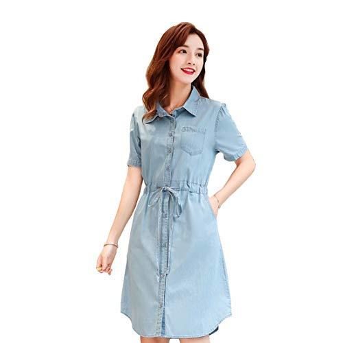 DorkasDE Damen Kleid Mädchen Jeanskleid Kleider Umlegekragen Jeanskleid Blusenkleid Hemdkleid