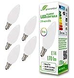 5x Bombilla de filamento LED greenandco® IRC 90+ E14 opaca 2W (corresponde a 18W) 170lm 2700K (blanco cálido) 360° 230V AC vidrio, sin parpadeo, no regulable
