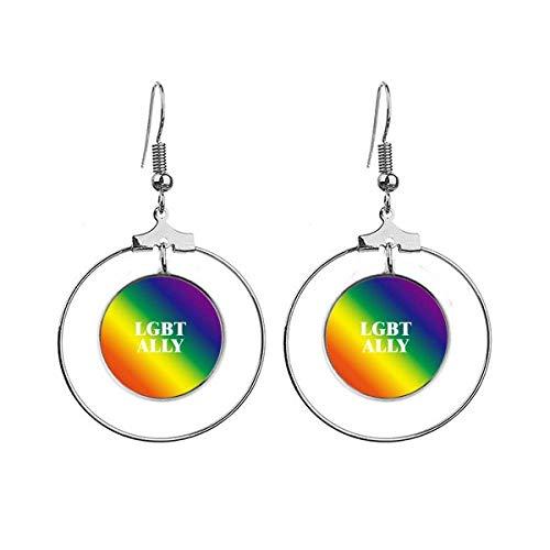 Gradient LGBT Ally Regenboog Homo Oorbellen Dangle Hoop Sieraden Drop Cirkel