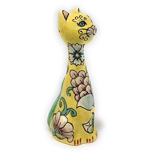 CERAMICHE D'ARTE PARRINI - Italian Ceramic Cat Art Pottery Animals Figurine Decorated Deruta Hand Painted Made in ITALY Tuscan