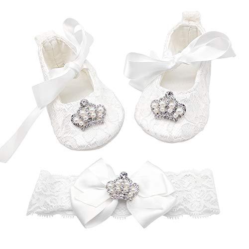Glamulice Vestido de bautizo de satén para recién nacido, con bordado floral, para bautizo, para bebés, Vestidos de bautismo para niñas, 6-12 meses, Vestido blanco roto y diadema