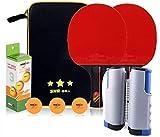 Conjunto de Tenis de Mesa Tabla de tenis profesional Conjunto Mesa de ping pong Set de 2 murciélagos premium 1 netas ajustable y 3 tenis de mesa de ajuste for la oficina de la escuela y club deportivo