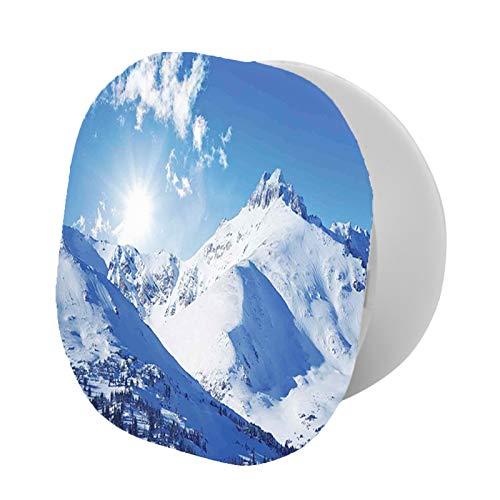 Soporte plegable para teléfono celular, pico de montaña en invierno soleado oeste del norte de los Estados Unidos Habitat Hike Image, soporte ajustable para teléfono móvil