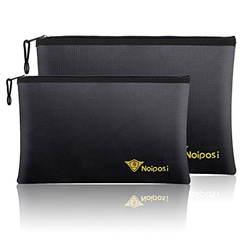 "Noiposi Fireproof Document Bags,13.4""x9.4"" Waterproof and Fireproof Bag for Documents and 10.6""x6.7"" Fireproof Money Bag with Zipper,Silicone Fire Safe Storage Pouch for Documents,Money and Cash"