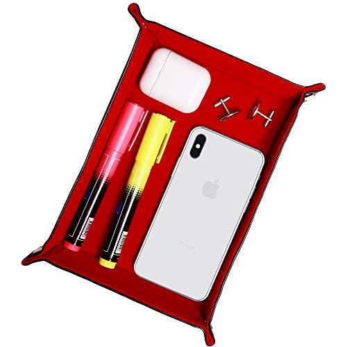 Velvet Dice Tray, Mens Gift, Desk Organizer für Brieftasche, Uhren, Handys, Schlüssel, Schreibwaren, Red Folding Tray für Dungeons, D & D und andere Tischspiele, Dice Holder