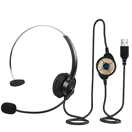 Datorheadset, Enkelsidigt USB Headset med Mikrofon Brusreducering Inline-linje Wired PC Hörlurar för Skype-chatt, Call Center, Konferenssamtal, Webinar och mer