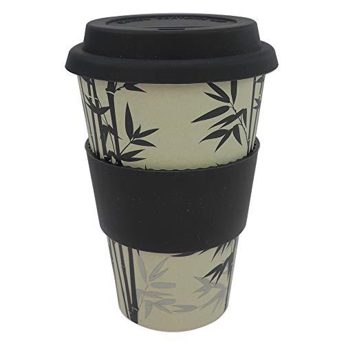 ebos Coffee-to-Go Becher aus Bambus – melaminfrei | Wiederverwendbarer Trink-Becher aus natürlichen Materialien | spülmaschinen- und mikrowellengeeignet | Bamboo Leaf