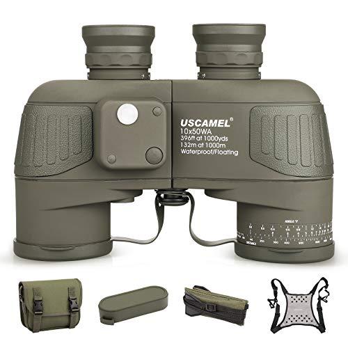 Potentes prismáticos 10X50 para Adultos, con telémetro Iluminado y brújula Impermeable con visión con Poca luz BAK4 Prism FMC Lente para observación de Aves, Caza, navegación y navegación
