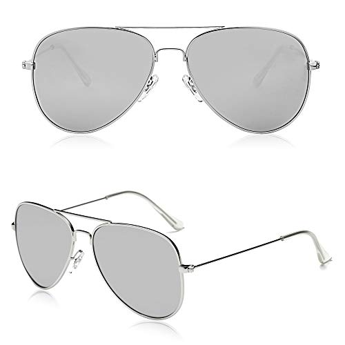 SOJOS Classic Aviator Polarized Sunglasses for Men Women Vintage Retro Style SJ1054 with Silver Frame/Silver Mirrored Lens